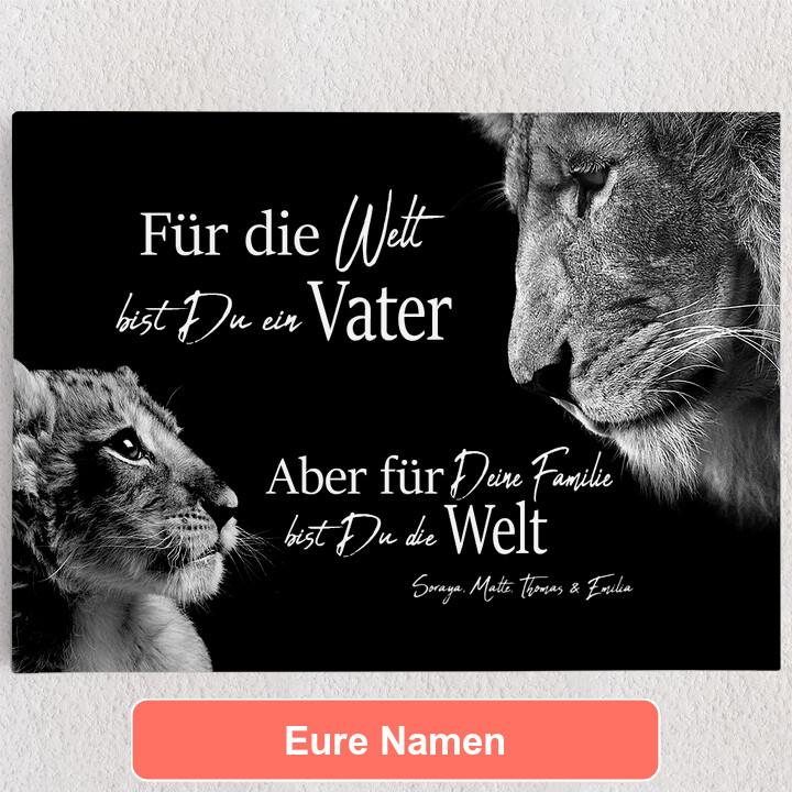 Personalisiertes Leinwandbild Löwenvater (Querformat)