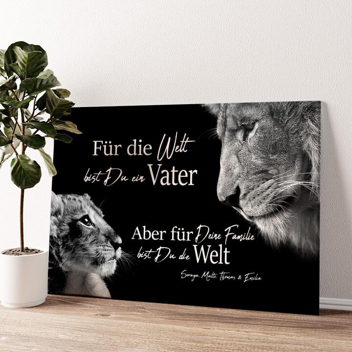 Löwenvater (Querformat) Wandbild personalisiert