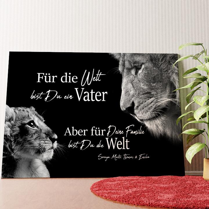 Personalisiertes Wandbild Löwenvater (Querformat)