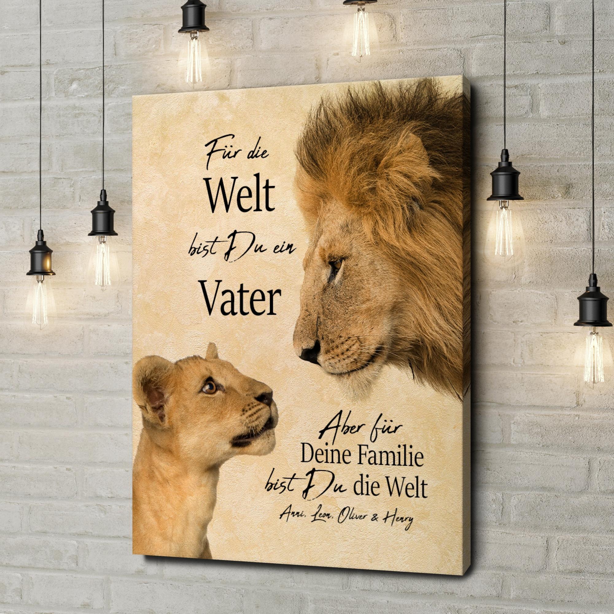Leinwandbild personalisiert Löwenvater 2
