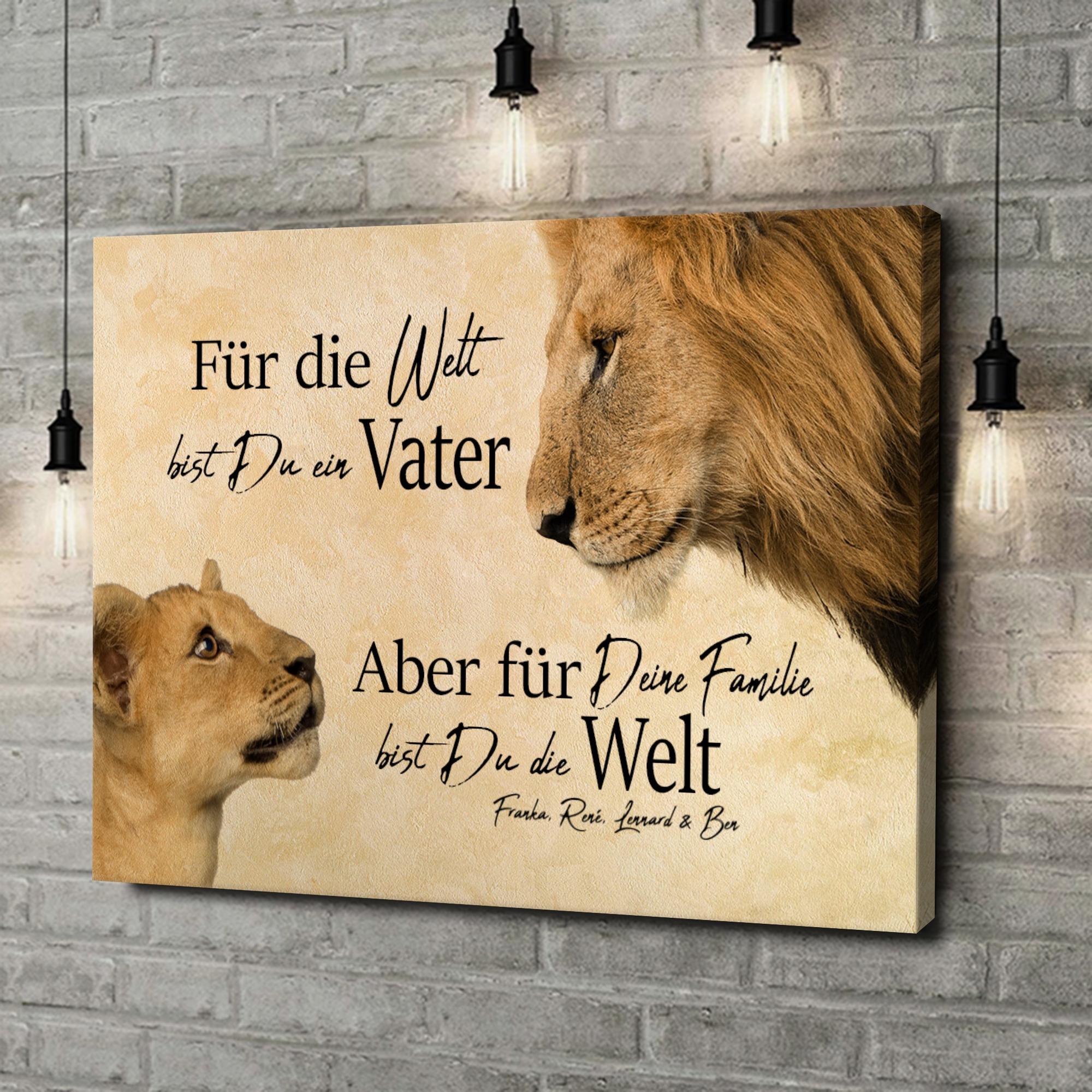 Leinwandbild personalisiert Löwenvater 2 (Querformat)