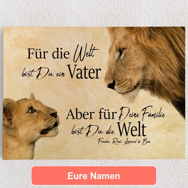 Personalisiertes Leinwandbild Löwenvater 2 (Querformat)