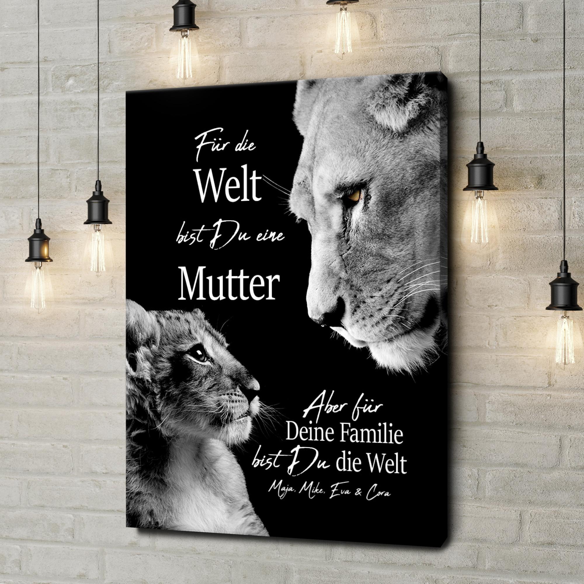 Leinwandbild personalisiert Löwenmutter