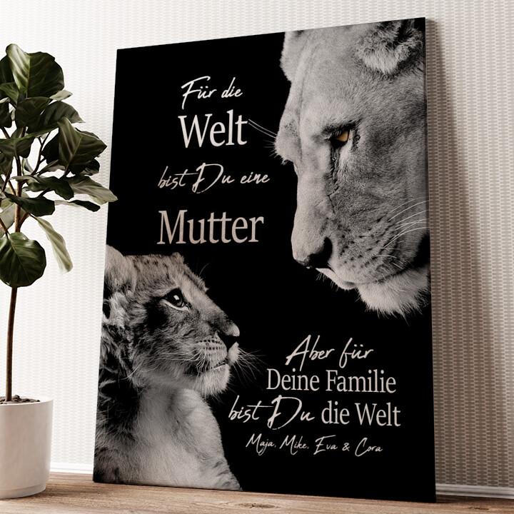 Löwenmutter Wandbild personalisiert