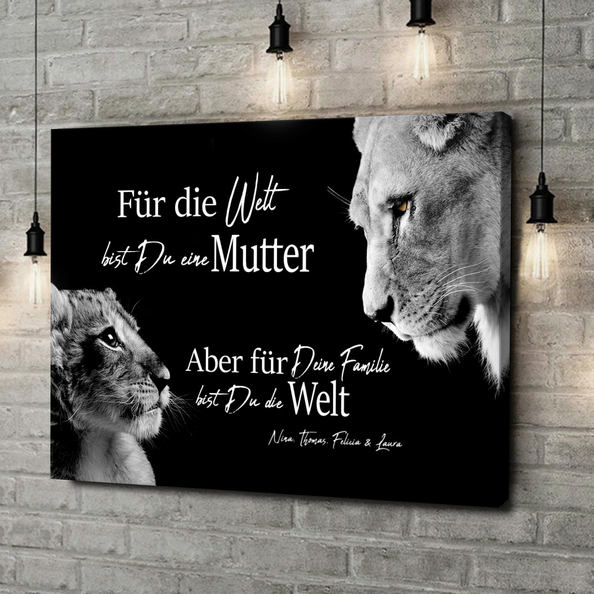Leinwandbild personalisiert Löwenmutter (Querformat)