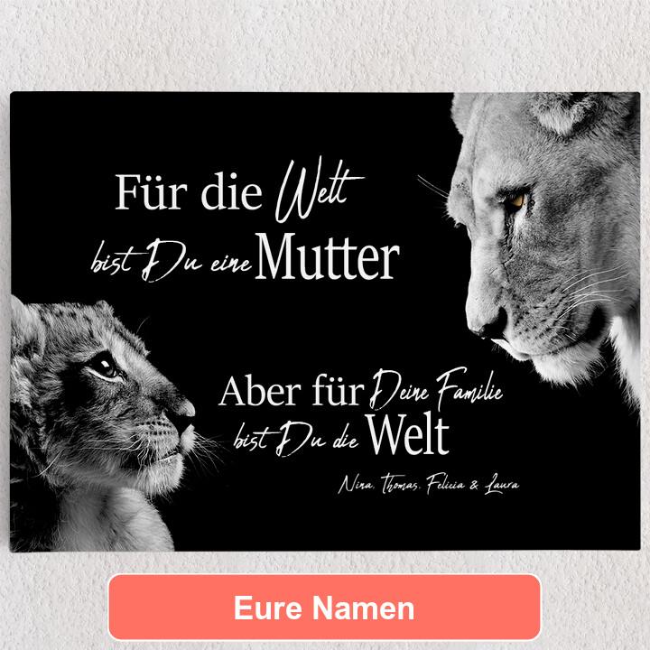 Personalisiertes Leinwandbild Löwenmutter (Querformat)