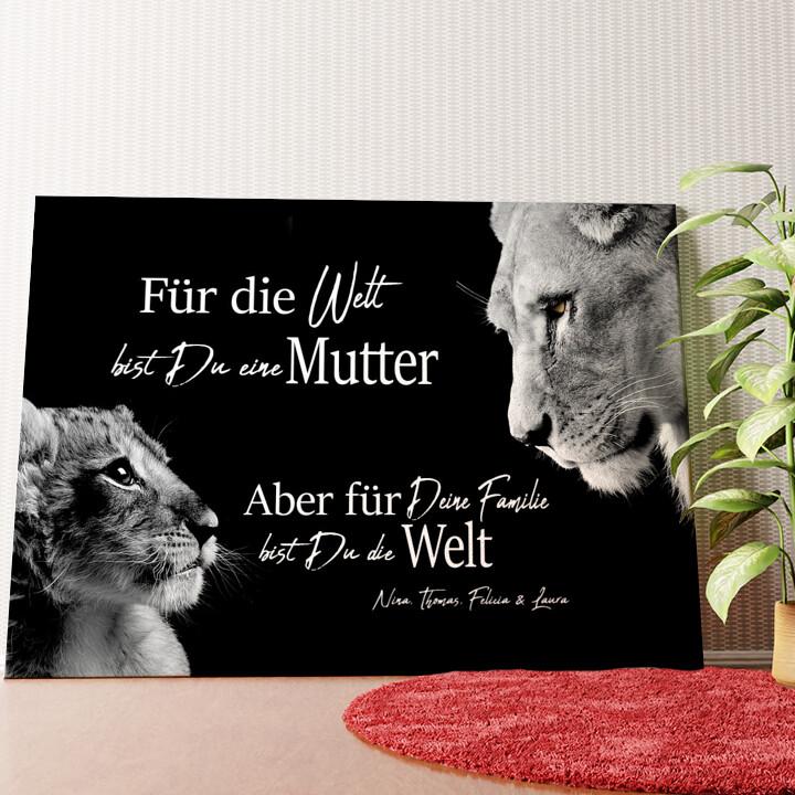 Personalisiertes Wandbild Löwenmutter (Querformat)