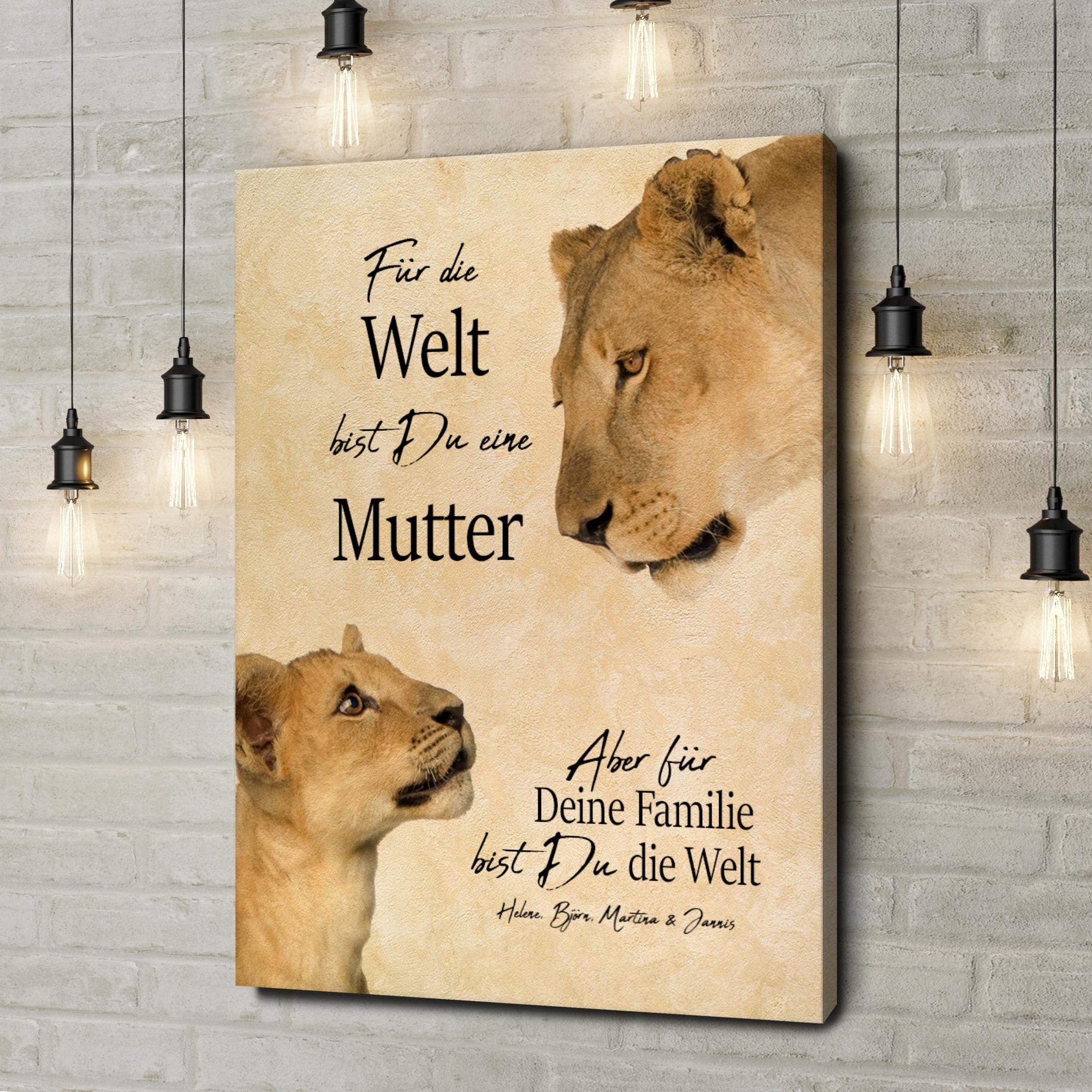 Leinwandbild personalisiert Löwenmutter 2