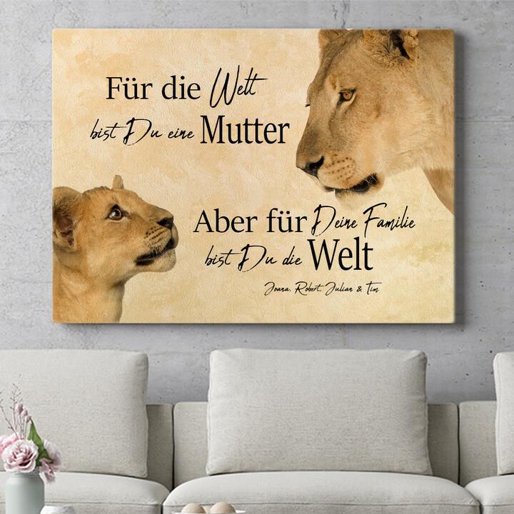 Personalisierbares Geschenk Löwenmutter 2 (Querformat)