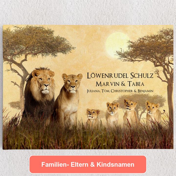 Personalisiertes Leinwandbild Löwenfamilie
