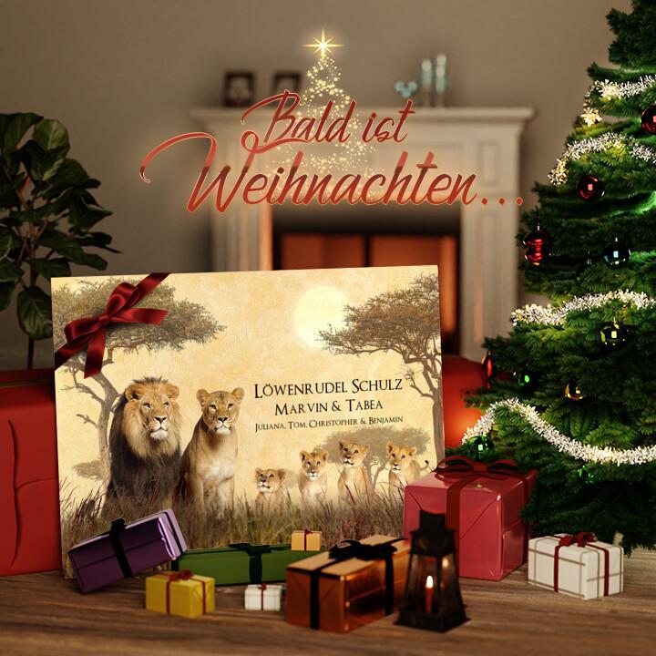 Liebesleinwand zu Weichnachten Löwenfamilie