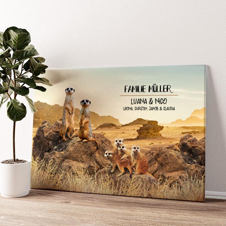 Erdmännchen-Familie Wandbild personalisiert