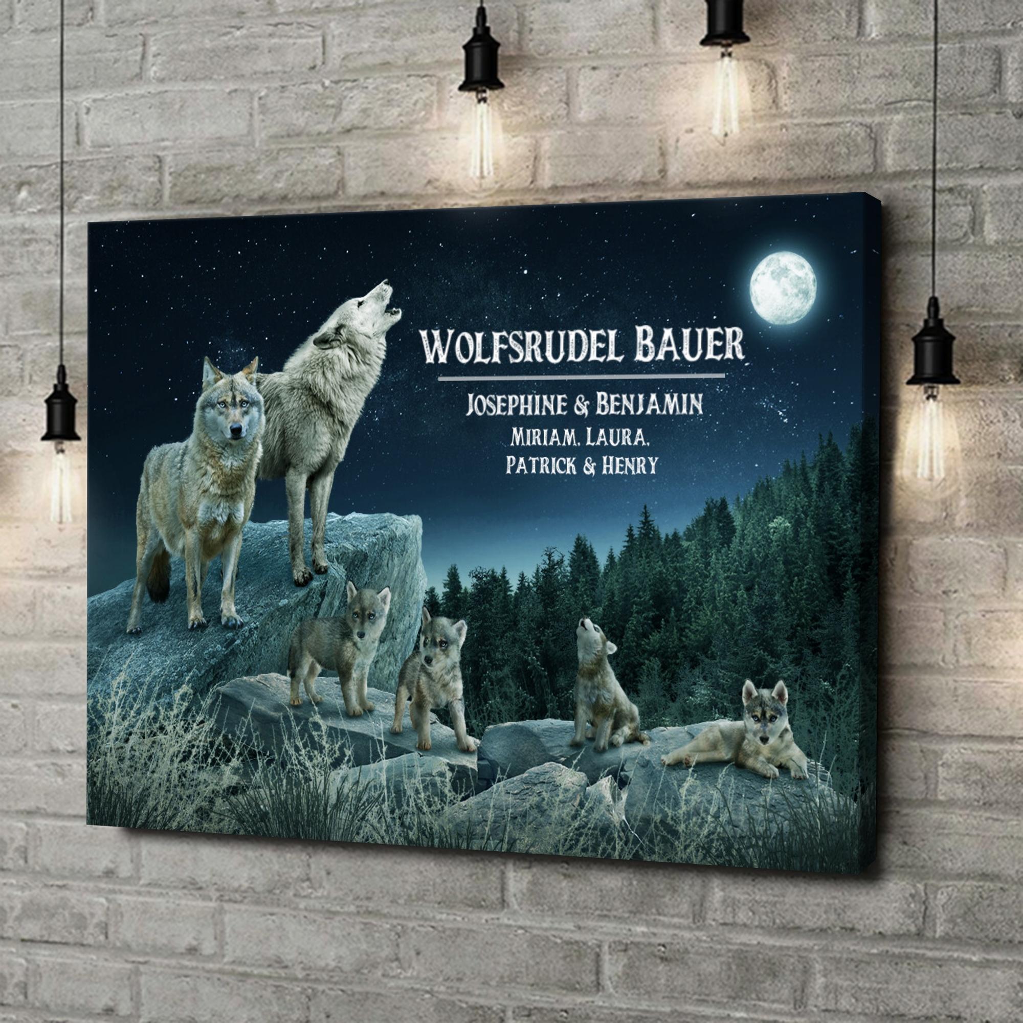 Leinwandbild personalisiert Wolfsrudel