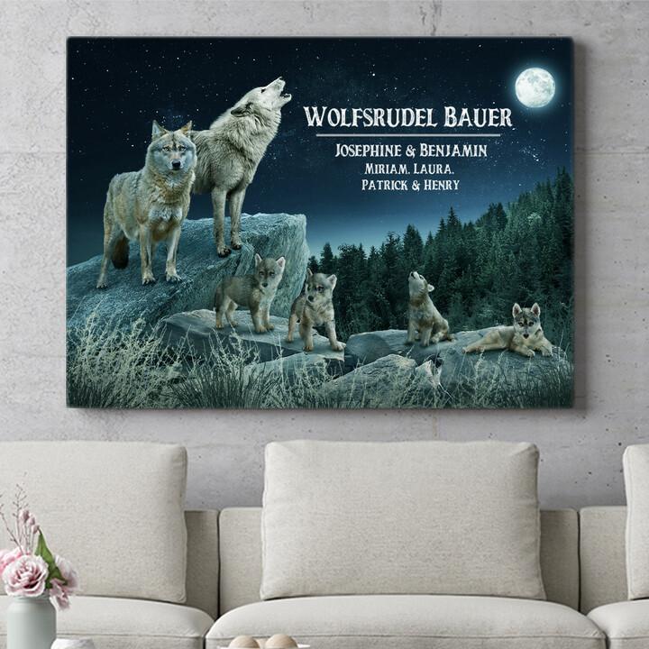 Personalisierbares Geschenk Wolfsrudel