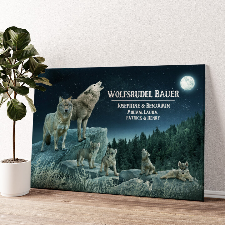 Wolfsrudel Wandbild personalisiert