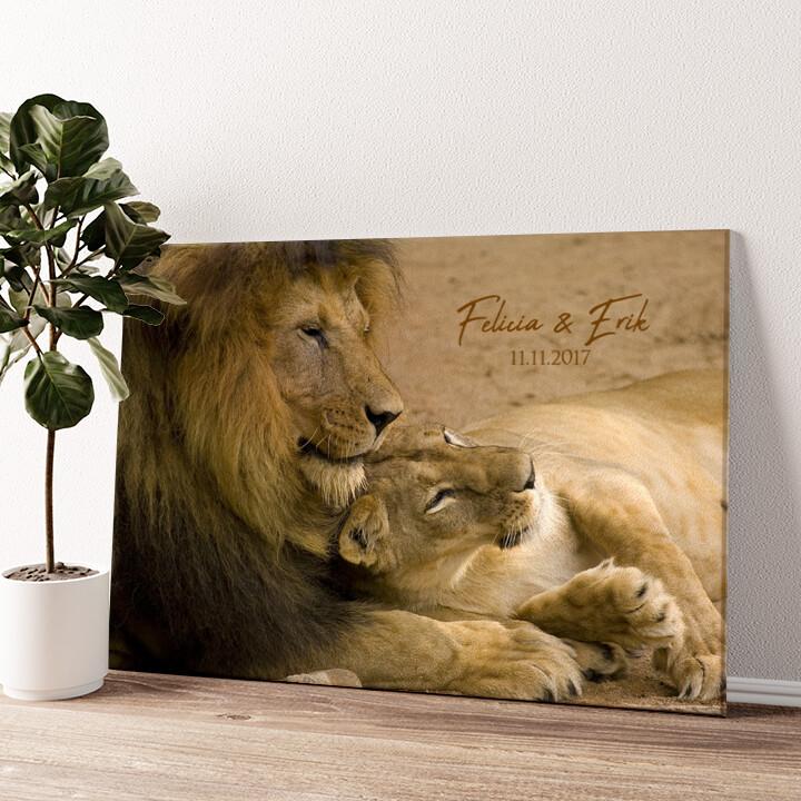 Lion Love Wandbild personalisiert