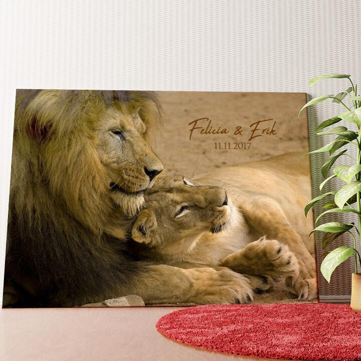 Personalisiertes Wandbild Lion Love