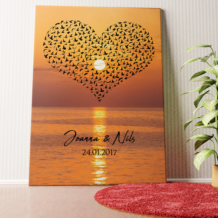 Personalisiertes Wandbild Birds of Love