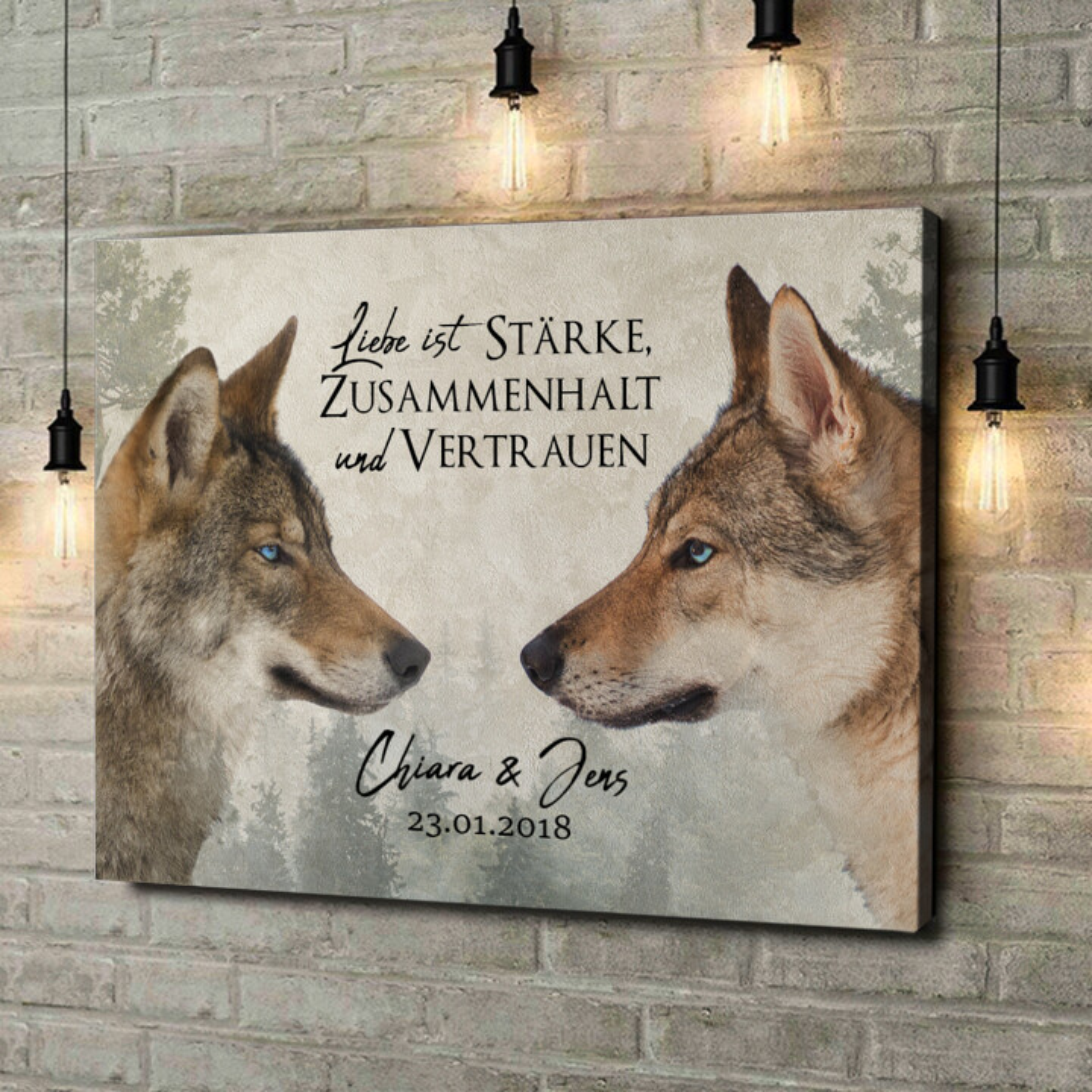 Leinwandbild personalisiert Wolf Love