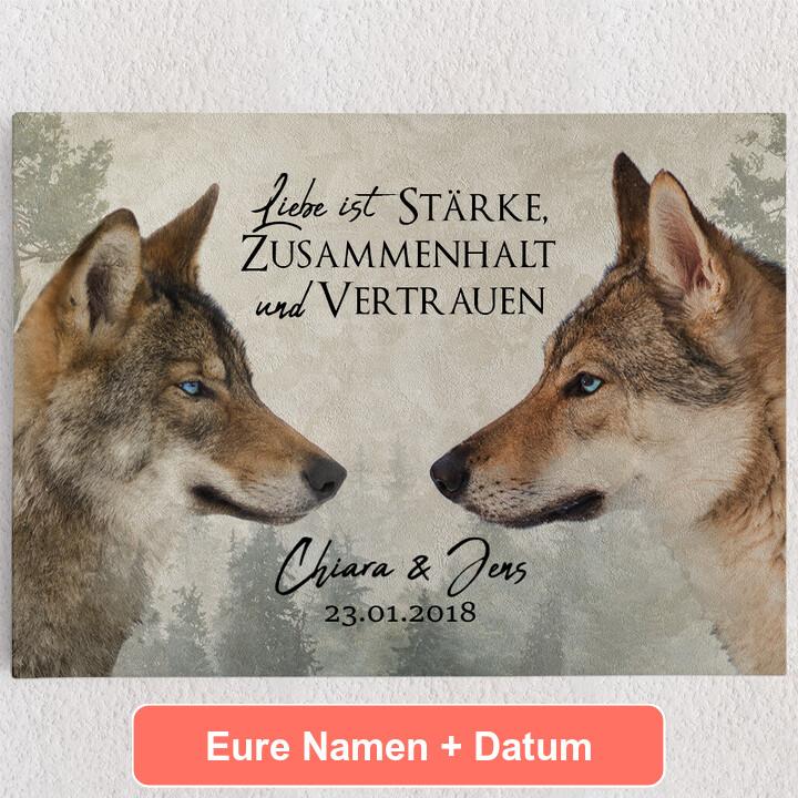 Personalisiertes Leinwandbild Wolf Love