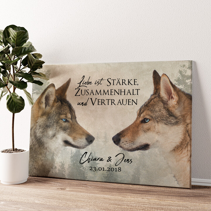 Wolf Love Wandbild personalisiert