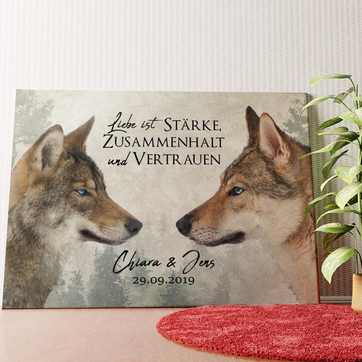 Personalisiertes Wandbild Wolf Love