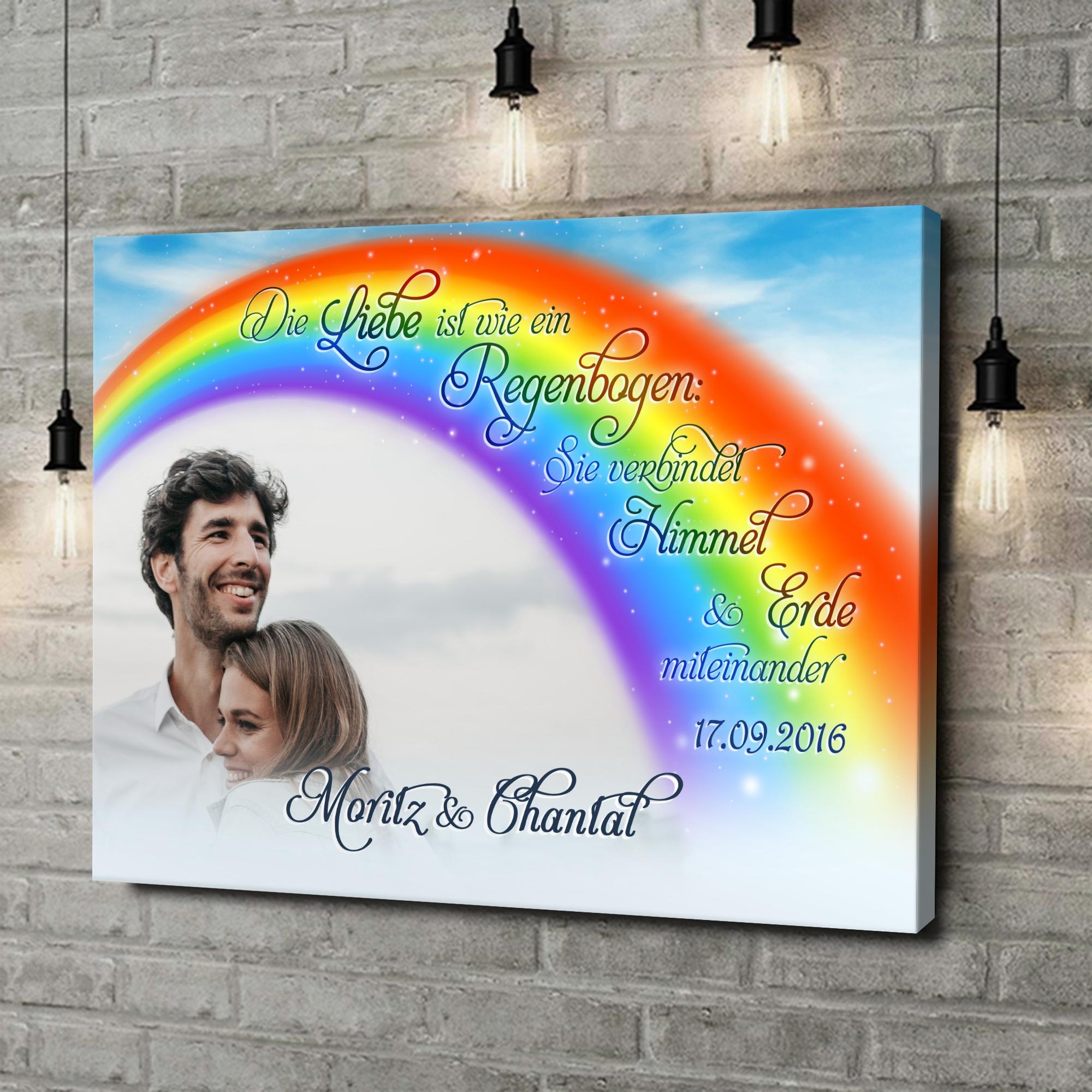 Leinwandbild personalisiert Liebe unter dem Regenbogen