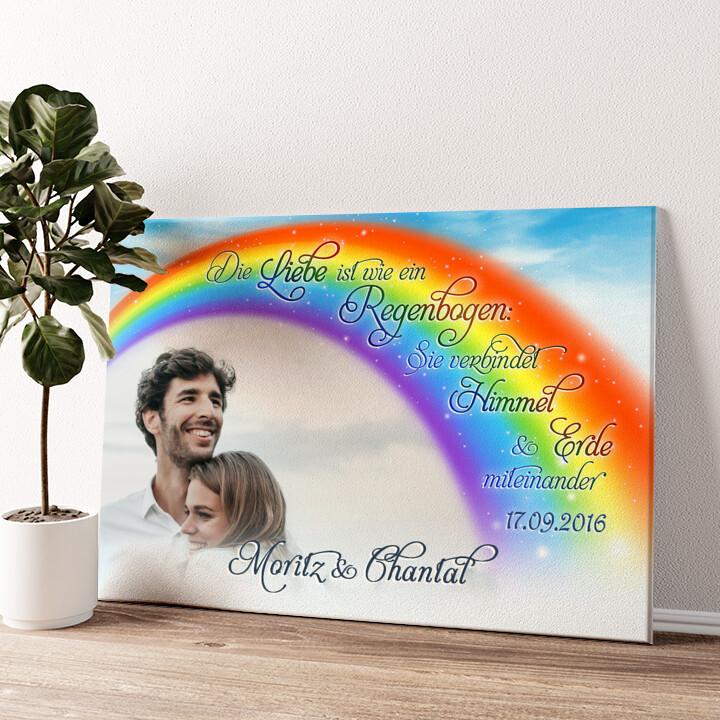 Liebe unter dem Regenbogen Wandbild personalisiert