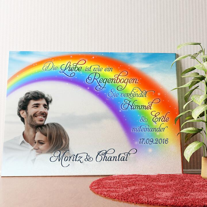 Personalisiertes Wandbild Liebe unter dem Regenbogen