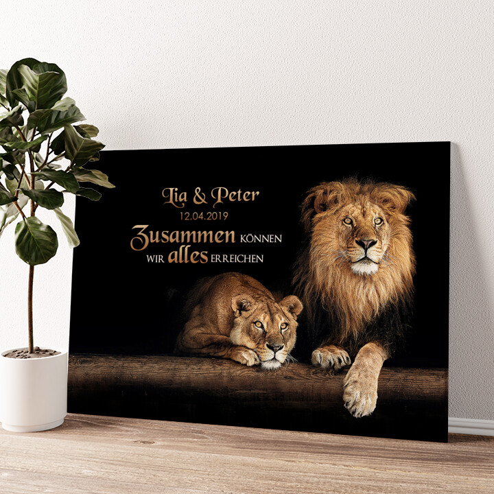Löwenpaar Wandbild personalisiert