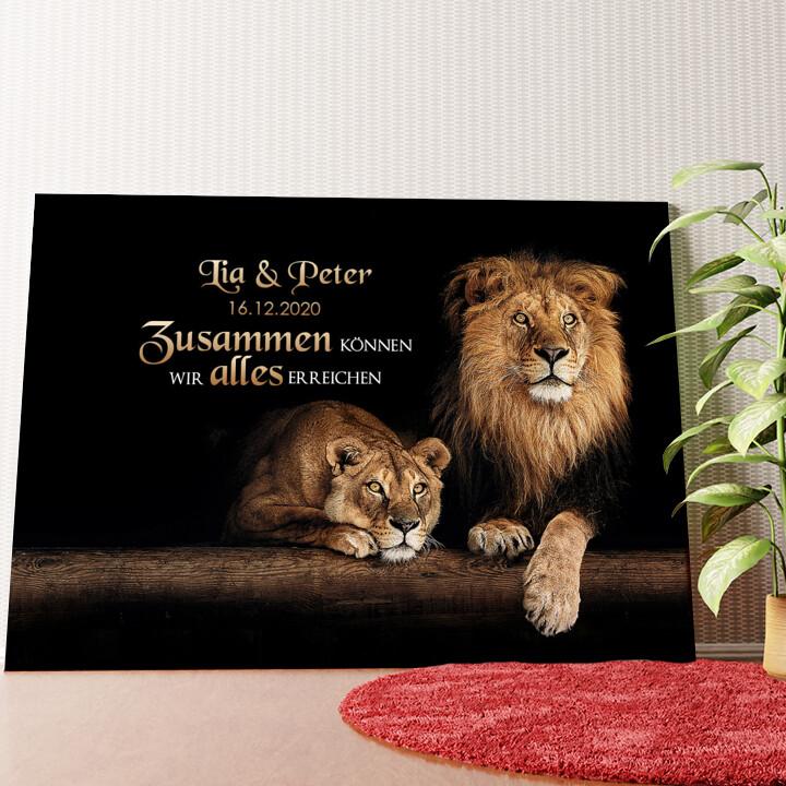 Personalisiertes Wandbild Löwenpaar
