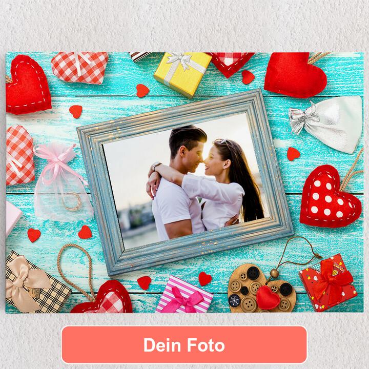 Personalisiertes Leinwandbild Hintergrund: Herz an Herz