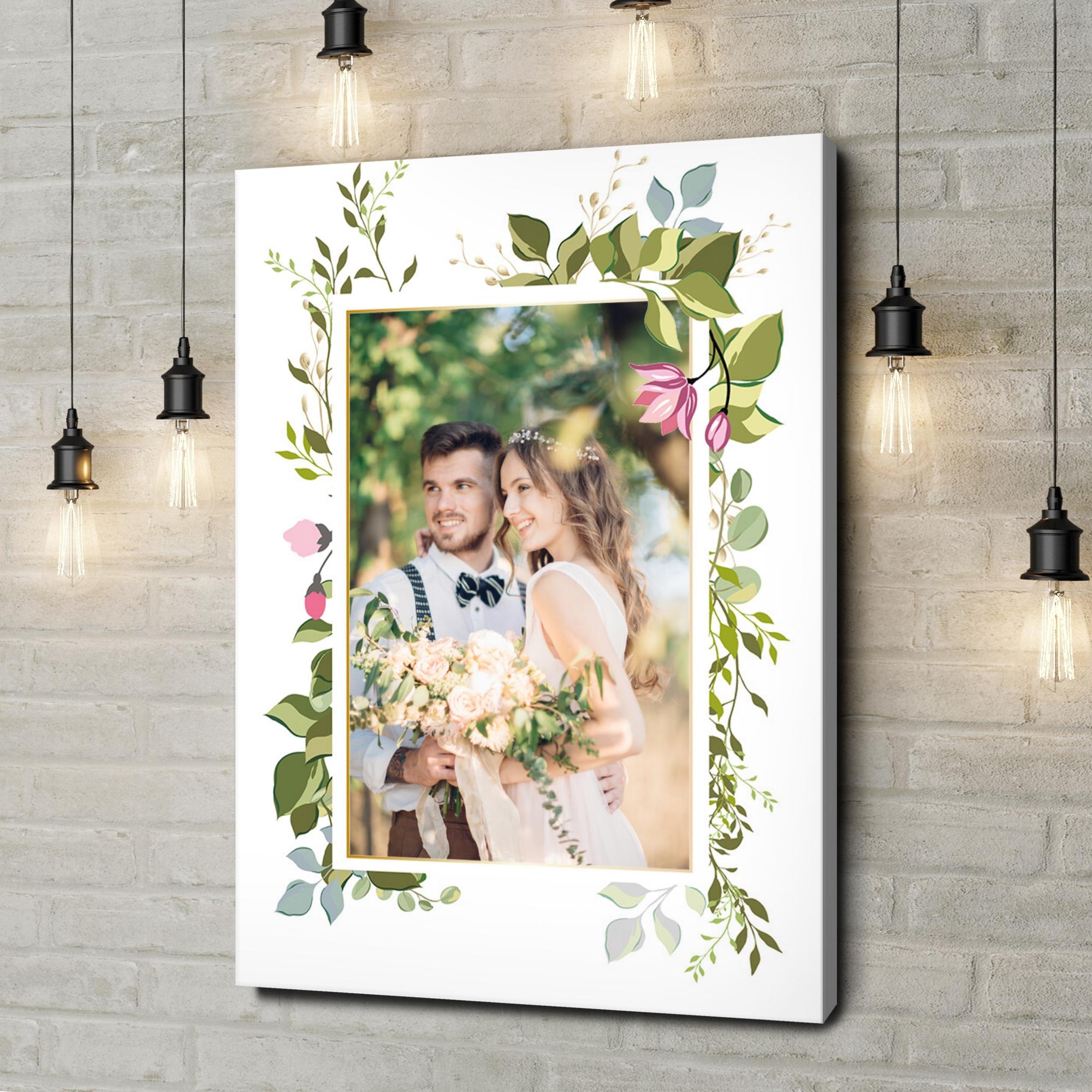 Leinwandbild personalisiert Hintergrund: Blumenranke