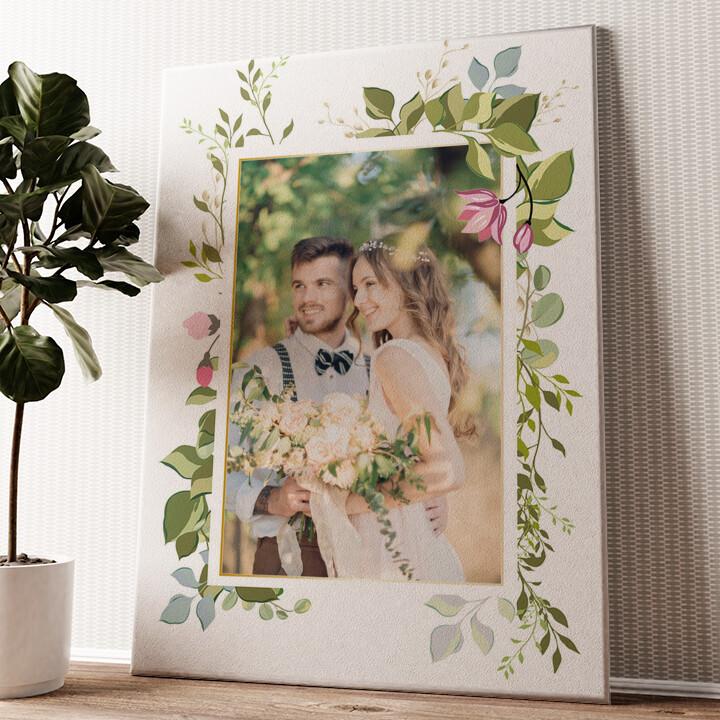 Hintergrund: Blumenranke Wandbild personalisiert