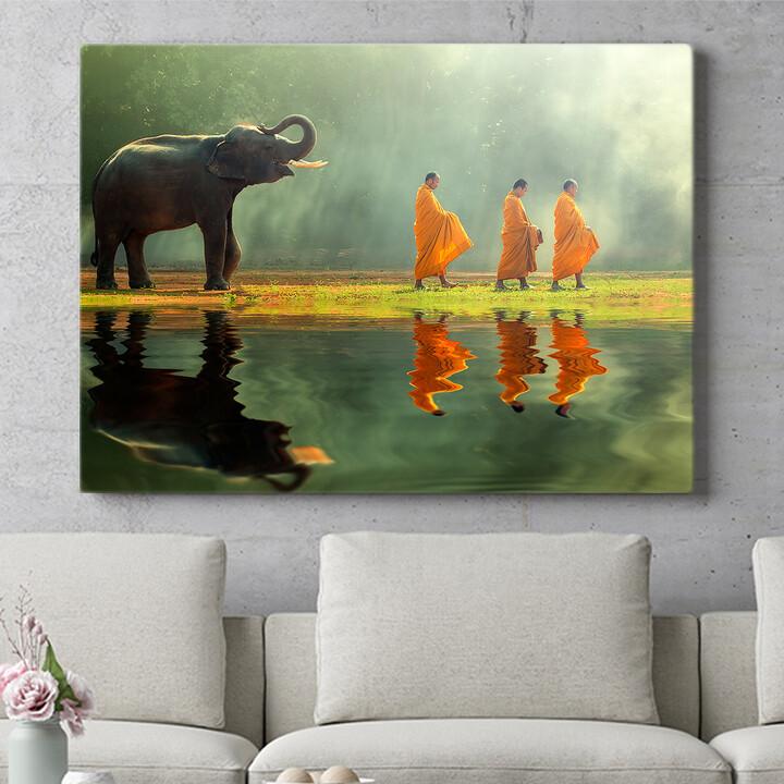 Personalisierbares Geschenk Mönche mit Elefant