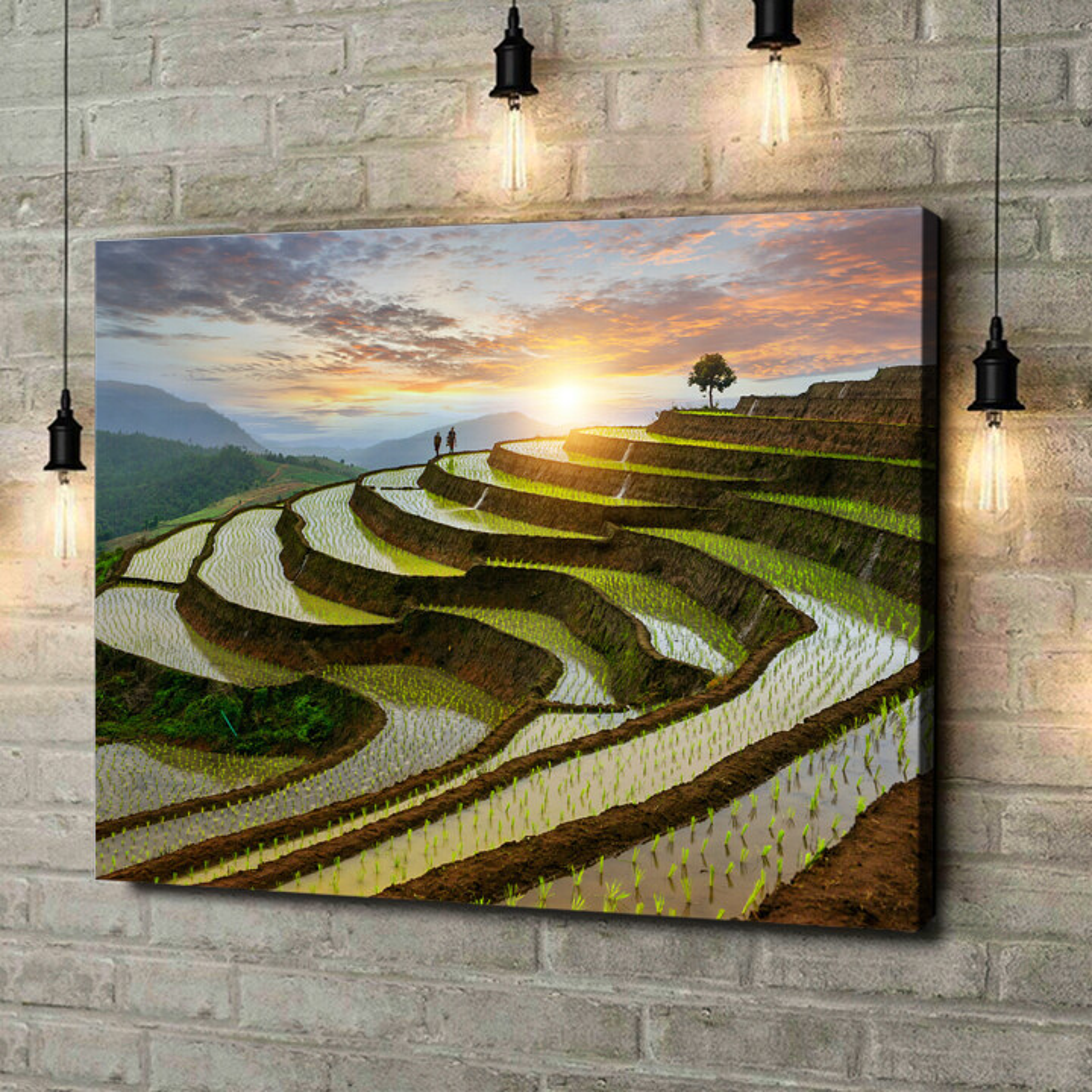 Leinwandbild personalisiert Reisfelder in Pa-Pong-Peang