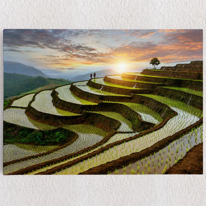 Personalisiertes Leinwandbild Reisfelder in Pa-Pong-Peang