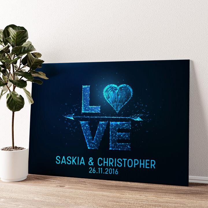 Liebe zum Quadrat Wandbild personalisiert