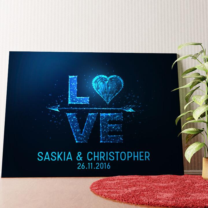 Personalisiertes Wandbild Liebe zum Quadrat