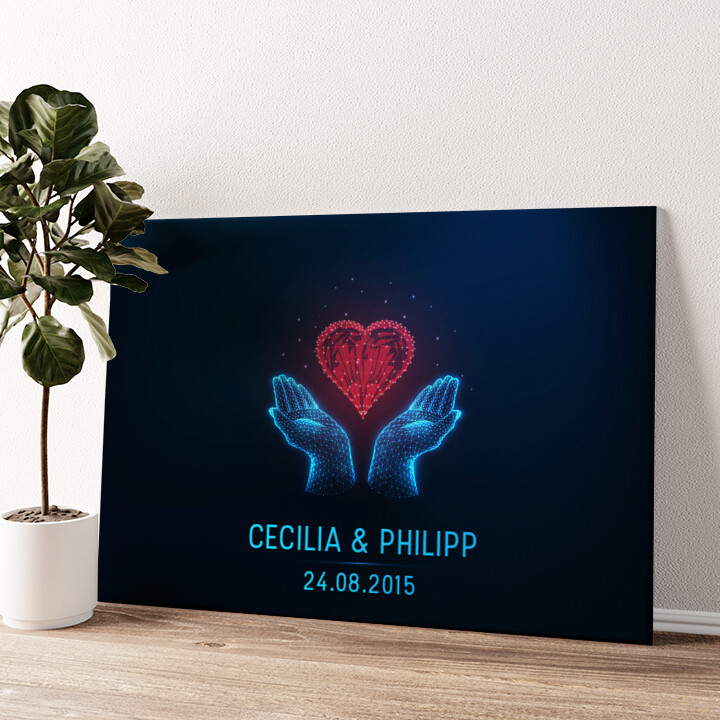 Liebe in den Händen Wandbild personalisiert