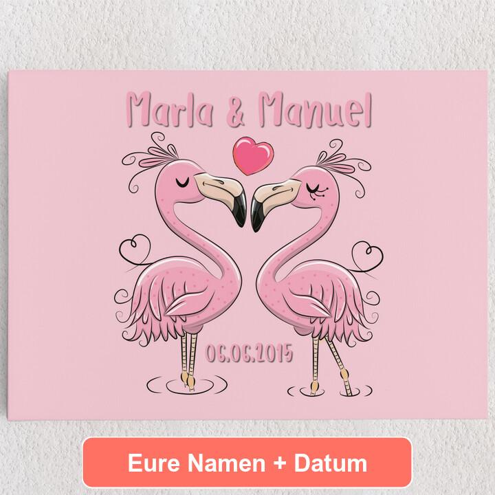 Personalisiertes Leinwandbild Flamingorama