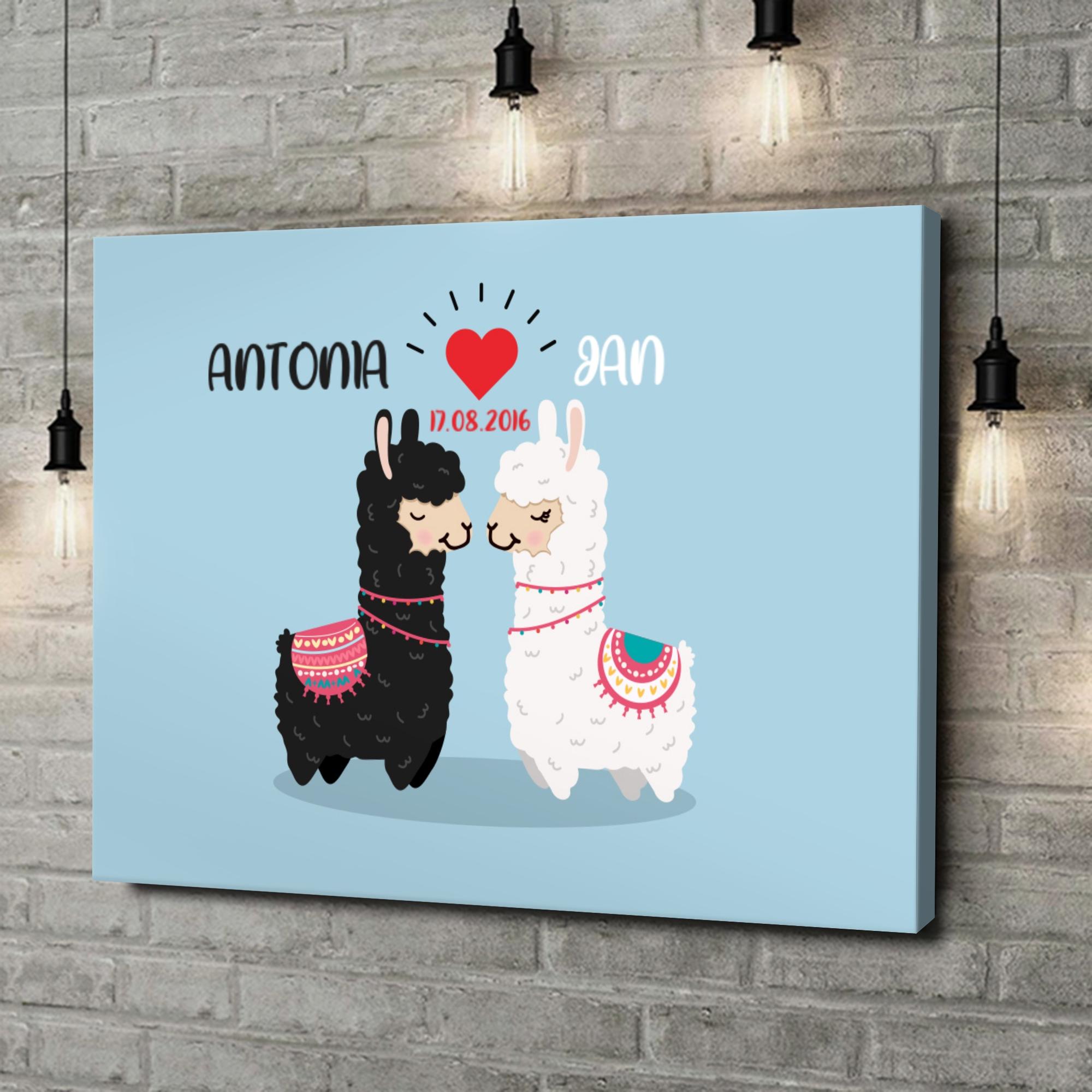 Leinwandbild personalisiert Alpaca-Liebe