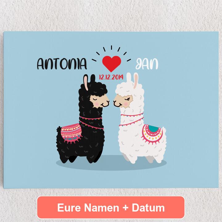 Personalisiertes Leinwandbild Alpaca-Liebe