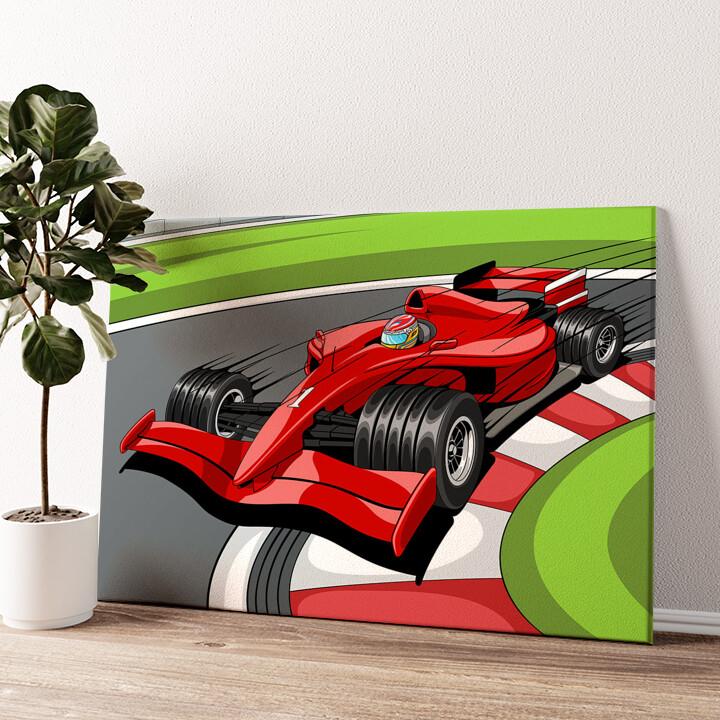 Formel 1 Rennwagen Wandbild personalisiert