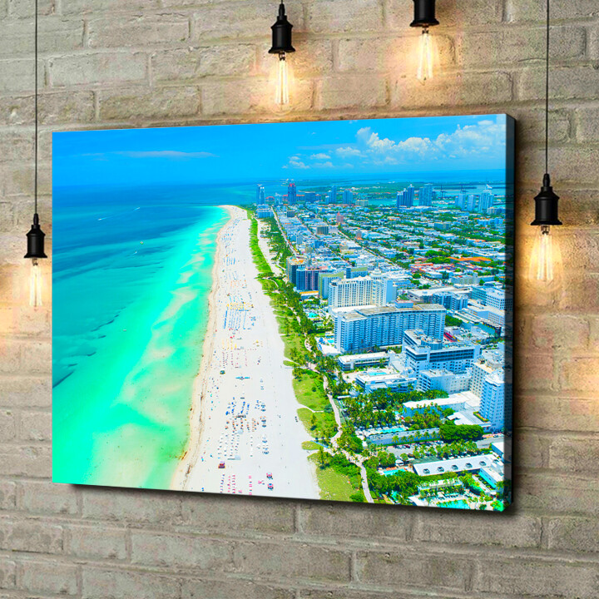 Leinwandbild personalisiert Miami Beach Skyline