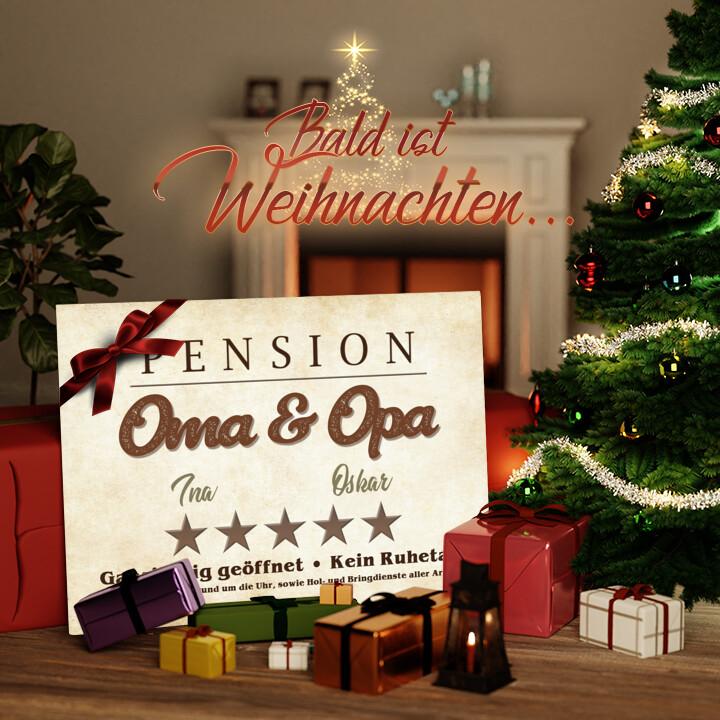 Liebesleinwand zu Weichnachten Pension Oma & Opa