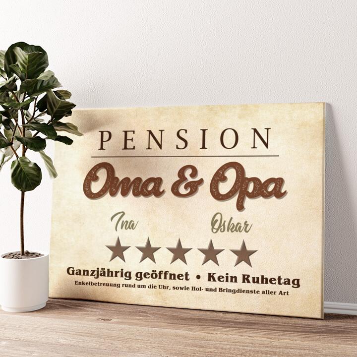 Pension Oma & Opa Wandbild personalisiert