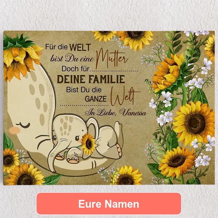 Personalisiertes Leinwandbild Auf Mamas Rüssel
