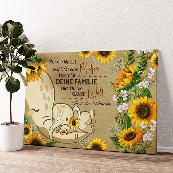 Auf Mamas Rüssel Wandbild personalisiert