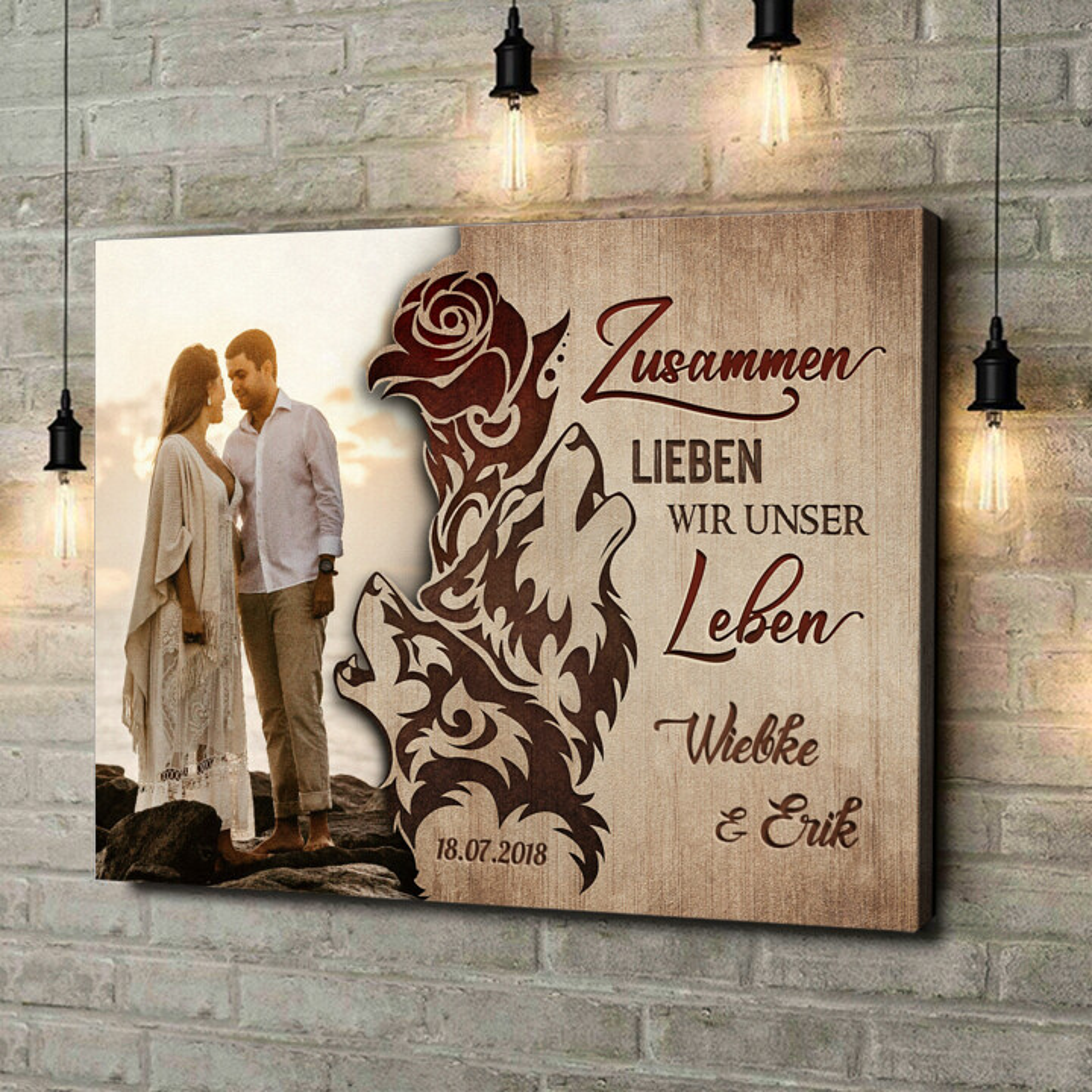 Leinwandbild personalisiert Liebesschwur